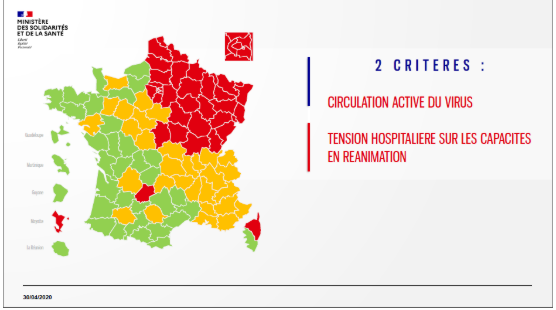 法国首次公布疫情地图